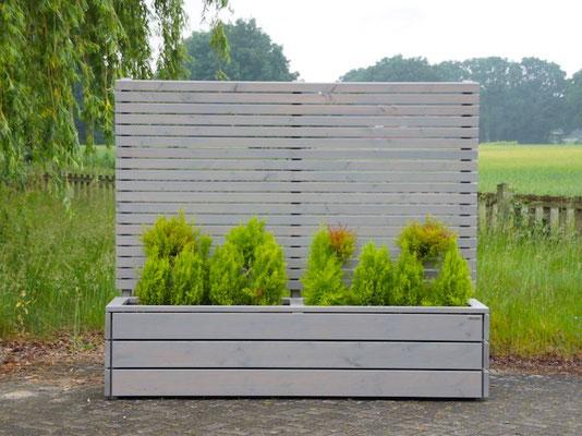 Pflanzkasten Holz Lang mit Sichtschutz, Länge: 212 cm, Höhe: 180 cm, Oberfläche: Transparent Geölt Grau