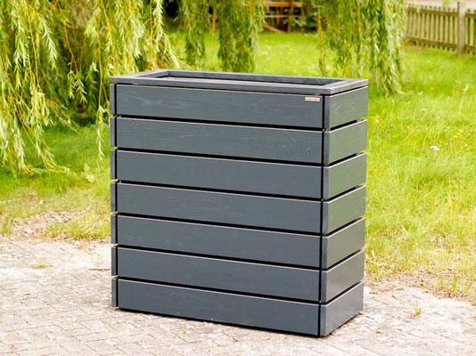 Pflanzkasten / Pflanzkübel Holz L, Oberfläche: Deckend Geölt Anthrazit Grau
