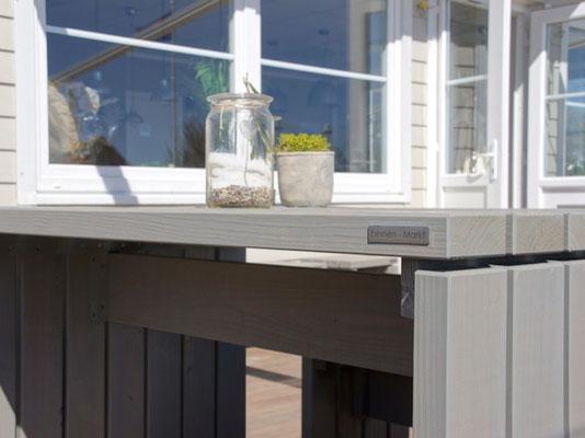 Gartentisch Holz 1, Oberfläche: Transparent Geölt Grau