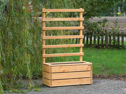 Pflanzkasten Holz L mit Rankgitter / Spalier, Maße: 112 x 55 x 180 cm, Oberfläche: Douglasie Natur Geölt