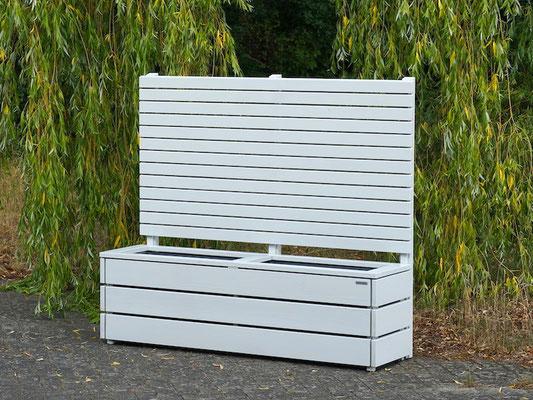 Pflanzkasten Holz Lang M mit Sichtschutz, Länge: 172 cm, Höhe: 150 cm, Oberfläche: Lichtgrau