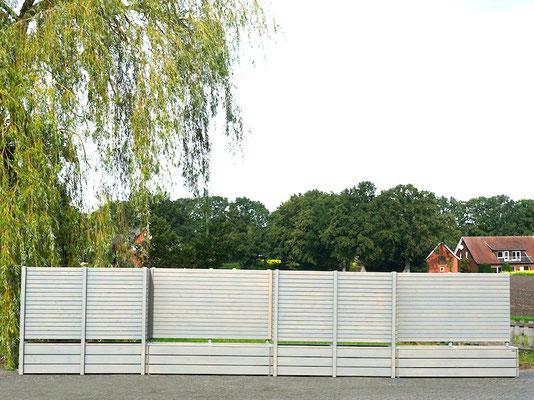 Pflanzkästen Holz Lang L mit Sichtschutz nach Maß, Oberfläche: Transparent Grau