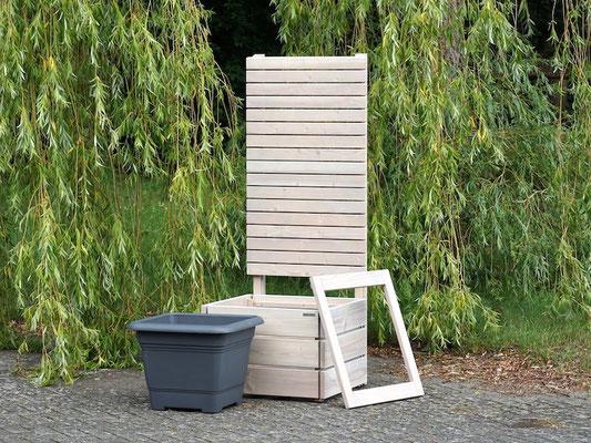Pflanzkübel Holz L mit Sichtschutz, Länge: 70 cm, Höhe: 180 cm, Oberfläche: Transparent Grau