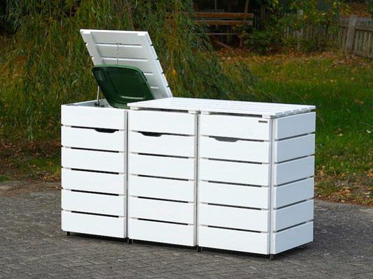 3er Mülltonnenbox / Mülltonnenverkleidung für 120 L Mülltonnen, Oberfläche: Deckend Geölt Weiß