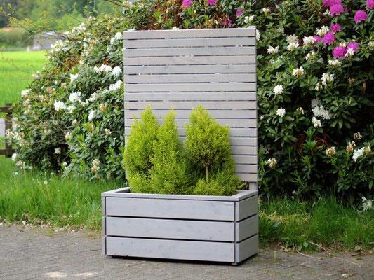 Pflanzkasten Holz mit Sichtschutz, Länge: 112 cm, Höhe: 180 cm, Oberfläche: Transparent Geölt Grau