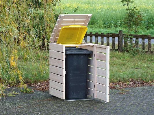 1er Mülltonnenbox / Mülltonnenverkleidung Holz 240 L, Oberfläche: Transparent Weiß