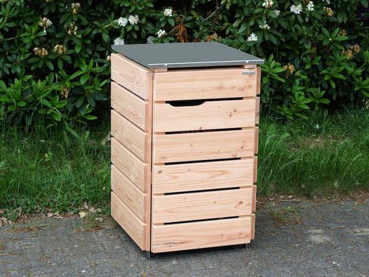 1er Mülltonnenbox / Mülltonnenverkleidung Holz mit Edelstahl - Deckel, Oberfläche: Natur