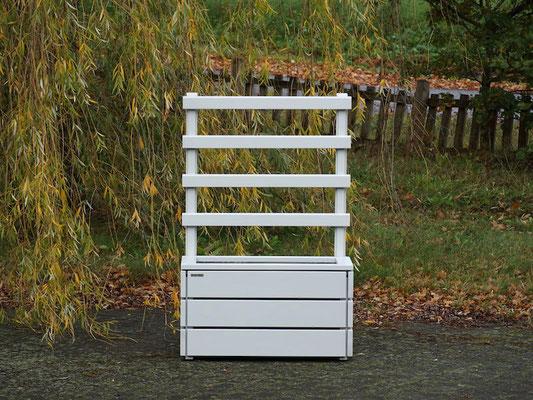 Pflanzkasten Holz M mit Rankgitter / Spalier, Maße: 92 x 48 x 140 cm, Oberfläche: Lichtgrau RAL 7035