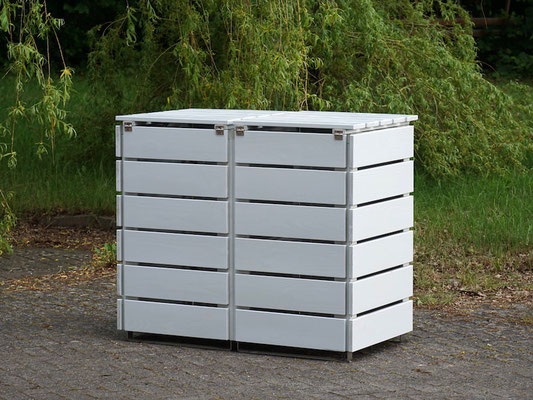 Rückseite 2er Mülltonnenbox / Mülltonnenverkleidung Holz 120 L, Oberfläche: Lichtgrau (RAL 7035)