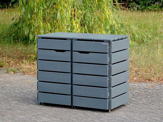 2er Mülltonnenbox / Mülltonnenverkleidung Holz 120 L, Oberfläche: Steingrau (RAL 7012)