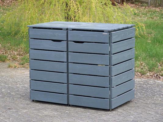 2er Mülltonnenbox / Mülltonnenverkleidung Holz 240 L, Oberfläche: Steingrau (RAL 7012)