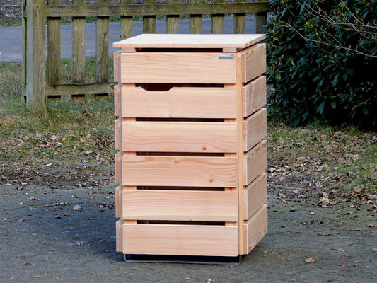 1er Mülltonnenbox / Mülltonnenverkleidung Holz, Oberfläche: Natur