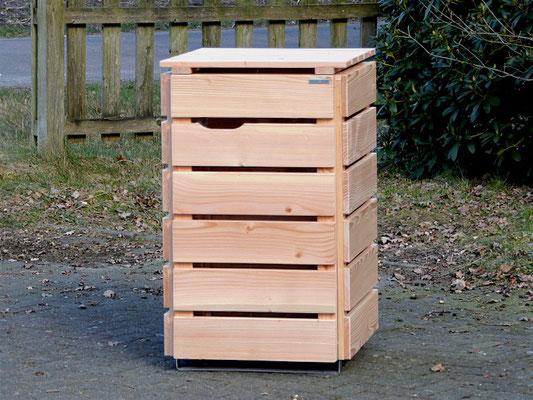 1er Mülltonnenbox / Mülltonnenverkleidung Holz 120 L, Oberfläche: Natur