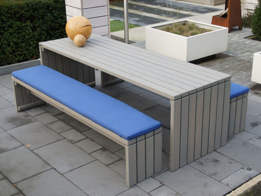 Gartenmöbel Set 1 Holz, Tischgröße: 240 x 80 cm, Oberfläche: Transparent Grau