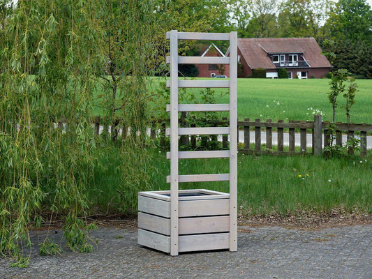 Rückseite Pflanzkübel Holz L mit Rankgitter / Spalier, Oberfläche: Transparent Grau