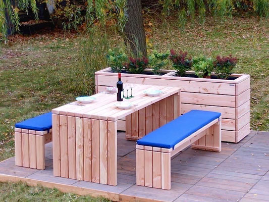 Gartenmöbel Holz Set 1, Polster Blau, Oberfläche: Natur