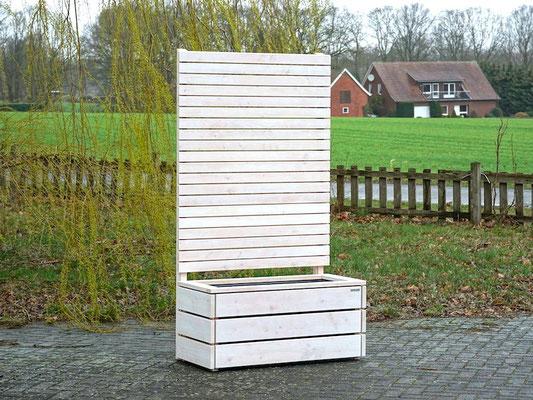 Pflanzkasten Holz mit Sichtschutz, Länge: 112 cm, Höhe: 200 cm, Oberfläche: Transparent Weiß