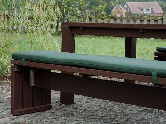 Gartenmöbel Set 3 Holz, Tischgröße: 180 x 100 cm, Oberfläche: Dunkelbraun, mit Polstern