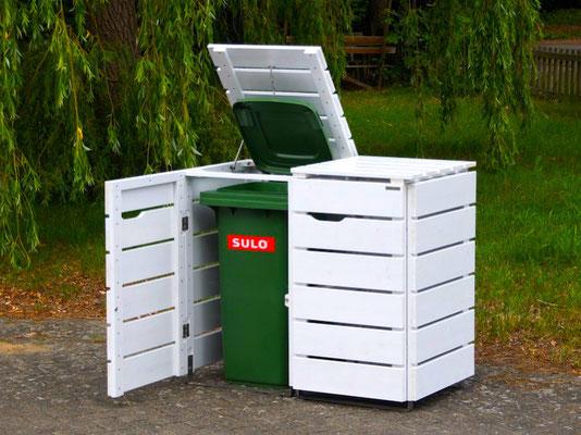 2er Mülltonnenbox / Mülltonnenverkleidung Holz, Oberfläche: Weiß (RAL 9016)