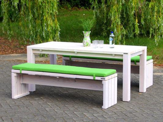Gartenmöbel Set 3 Holz, Tischgröße: 180 x 80 cm, Oberfläche: Transparent Weiß, mit Polstern