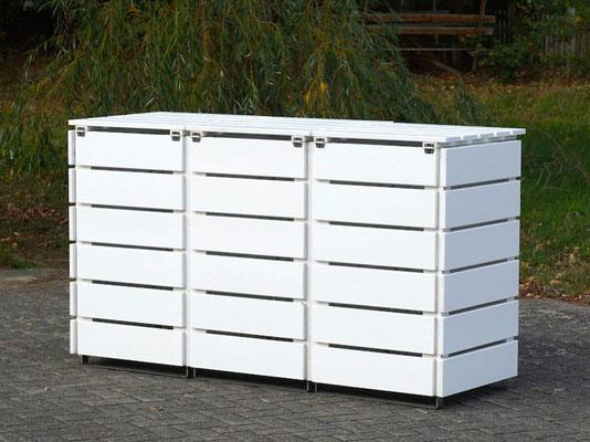 Rückseite 3er Mülltonnenbox / Mülltonnenverkleidung, Oberfläche: Deckend Geölt Weiß