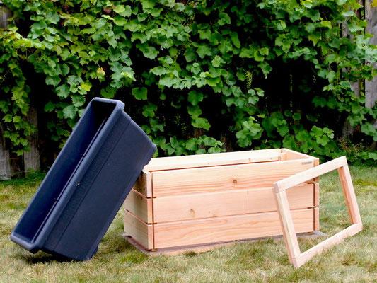 Pflanzkasten / Pflanzkübel Holz L, Oberfläche: Natur