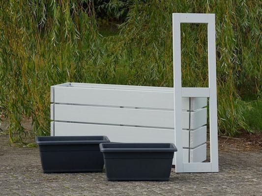 Pflanzkasten / Pflanzkübel Holz Lang S, Oberfläche: Lichtgrau