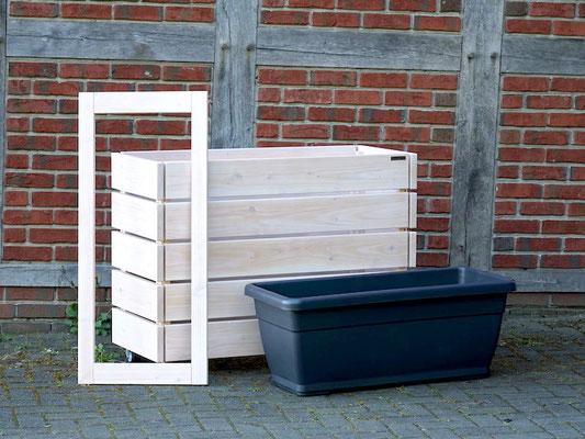 Pflanzkasten / Pflanzkübel / Kräuterbeet Holz L, Oberfläche: Transparent Weiß