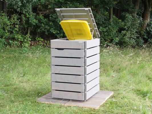 1er Mülltonnenbox / Mülltonnenverkleidung Holz, für 120 L & 240 L Tonnen, Oberfläche: Transparent Grau