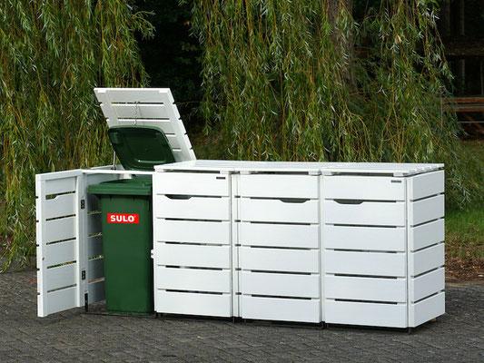 4er Mülltonnenbox / Mülltonnenverkleidung Holz 120 L, Oberfläche: Weiß