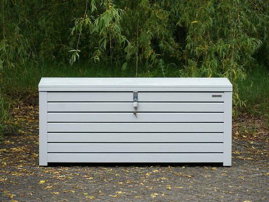 Auflagenbox / Kissenbox Holz, atmungsaktiv & wasserdicht, Oberfläche: Lichtgrau RAL 7035