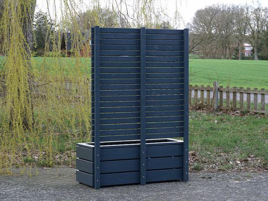 Rückseite Pflanzkasten Holz Lang mit Sichtschutz nach Maß, Länge: 140 cm, Höhe: 200 cm, Oberfläche: Anthrazit