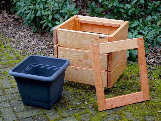 Pflanzsäule / Pflanzkübel Holz M, Oberfläche: Transparent Geölt Natur