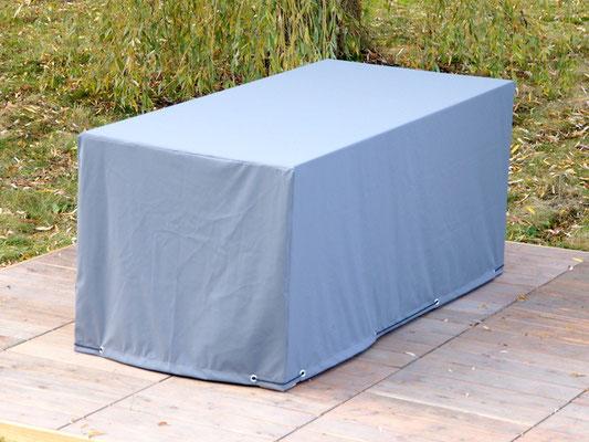 Möbelhaube für Gartentisch Holz 3, wetterfest & atmungsaktiv, Farbe: Grau