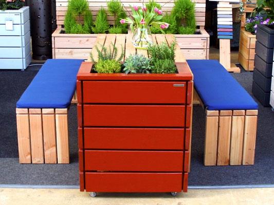 Pflanzkasten / Pflanzkübel Holz S, Oberfläche: Nordisch Rot