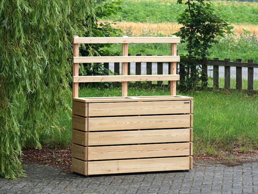 Pflanzkasten Holz Lang S mit Rankgitter / Spalier, Oberfläche: Natur