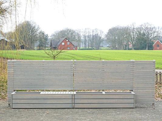 Sichtschutz mit Pflanzkasten nach Maß, Gesamtlänge: 526 cm, Oberfläche: Transparent Grau