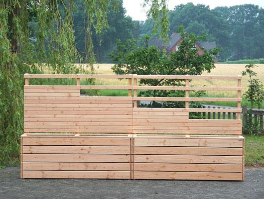 Pflanzkasten mit Rankgitter / Sichtschutz nach Maß, Gesamtlänge: 424 cm, Oberfläche: Natur