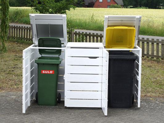 3er Mülltonnenbox Edelstahl / Holz - Deckel, für 120 L & 240 L Mülltonnen, Deckend Geölt Weiß
