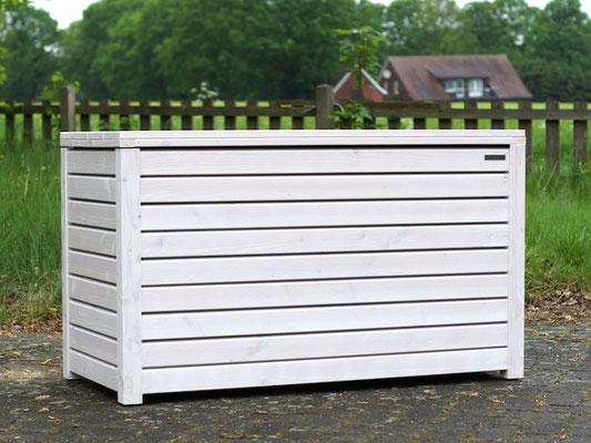 Auflagenbox / Kissenbox Holz, Oberfläche: Transparent Weiß