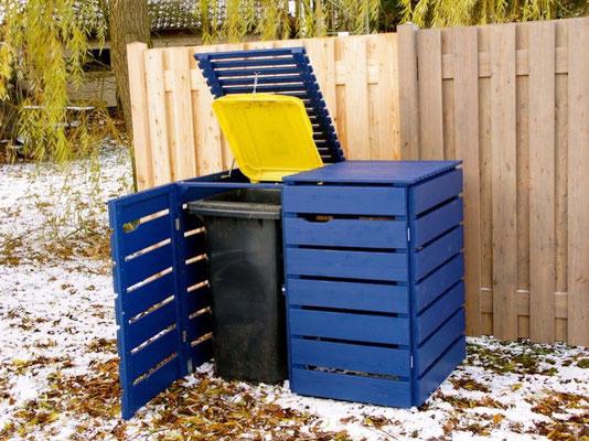 2er Mülltonnenbox / Mülltonnenverkleidung Holz, Oberfläche: Royal Blau