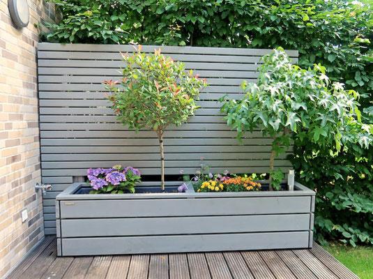 Pflanzkasten mit Verlägerung des Sichtschutzes nach Maß, Oberfläche: Transparent Grau