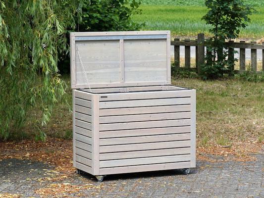 Auflagenbox / Kissenbox Holz nach Maß, Oberfläche: Transparent Grau
