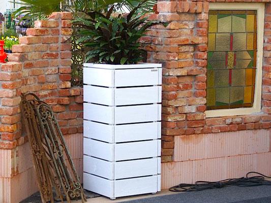 Pflanzsäule / Pflanzkübel Holz M, Oberfläche: Weiß