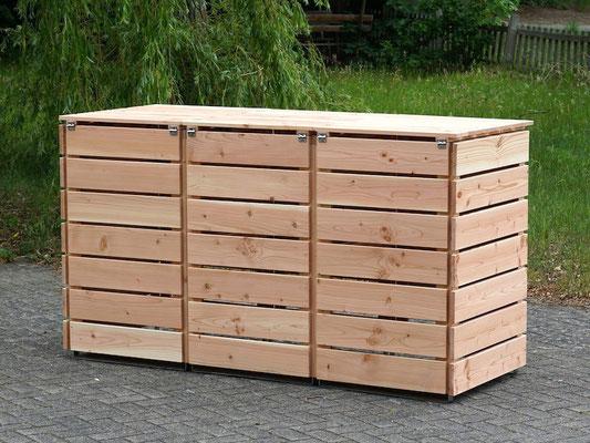 3er Mülltonnenbox / Mülltonnenverkleidung Holz, Oberfläche: Natur