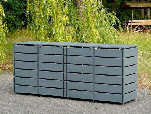 Rückseite 4er Mülltonnenbox / Mülltonnenverkleidung Holz für 120 L Mülltonnen, Oberfläche: Steingrau