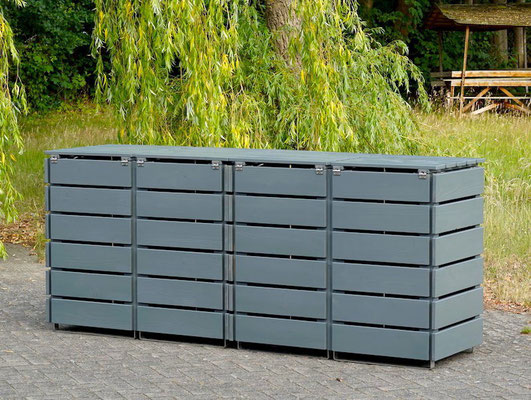 Rückseite 4er Mülltonnenbox / Mülltonnenverkleidung Holz für 120 L Mülltonnen, Oberfläche: Steingrau (RAL 7012)