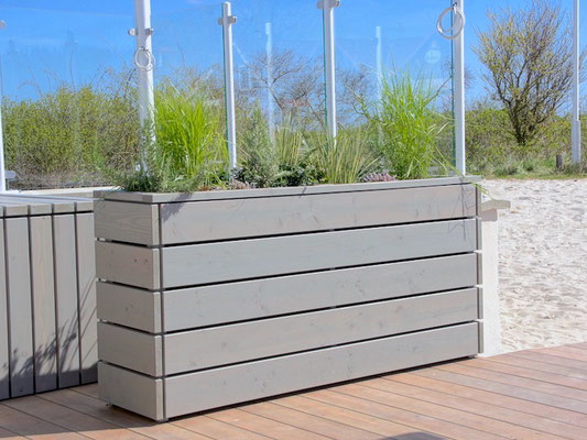 Pflanzkasten / Pflanzkübel Holz Lang M, Oberfläche: Transparent Grau