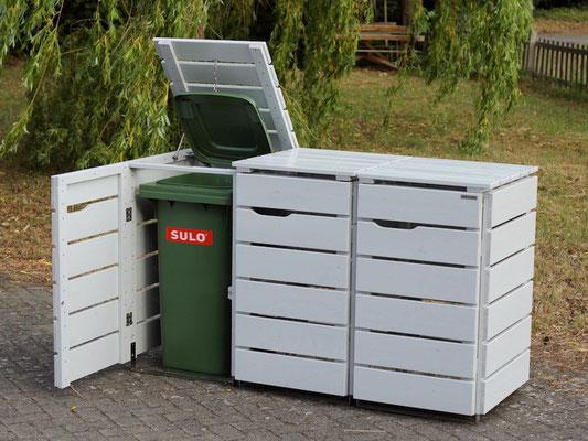 3er Mülltonnenbox / Mülltonnenverkleidung Holz, Oberfläche: Lichtgrau (RAL 7035)