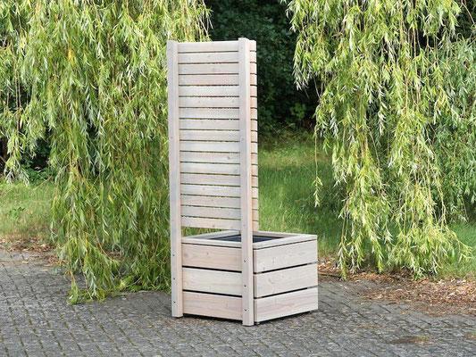 Rückseite Pflanzkübel Holz L mit Sichtschutz, Länge: 70 cm, Höhe: 180 cm, Oberfläche: Transparent Grau